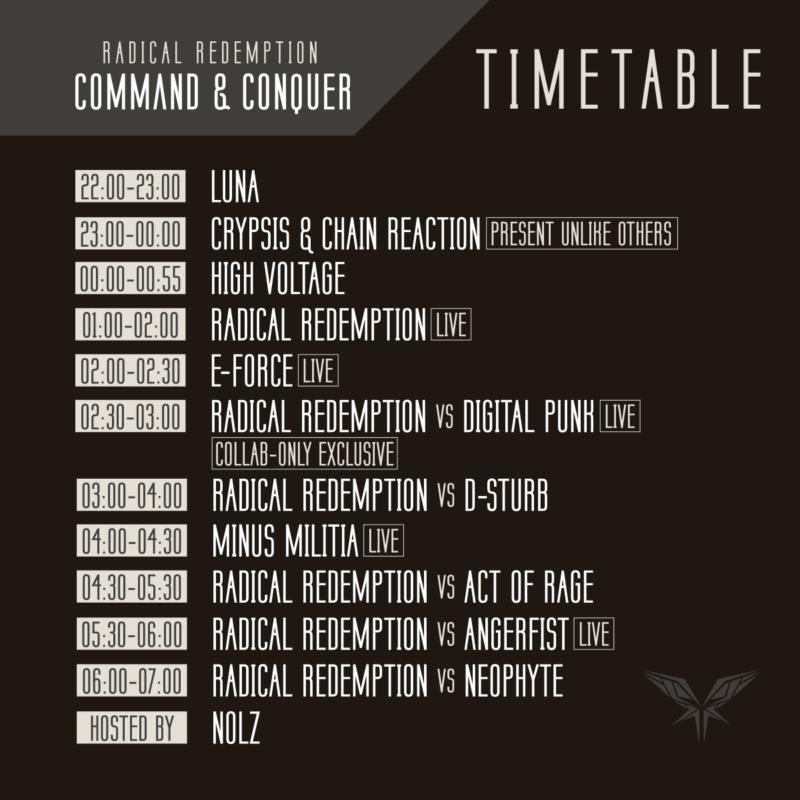 Radical Redemption 2018 timetable